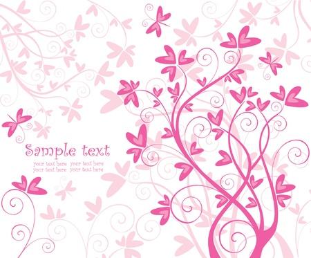pink swirl: Beautiful floral pink card Illustration