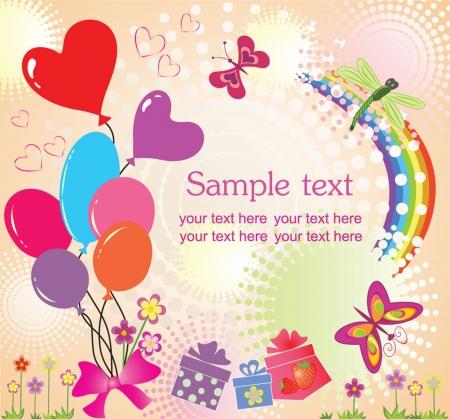 birthday flowers: Kaart van de verjaardagsgroet Stock Illustratie