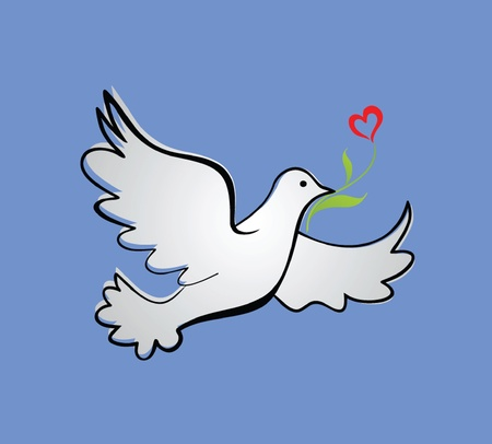 ark: Dove of peace with tulip Illustration