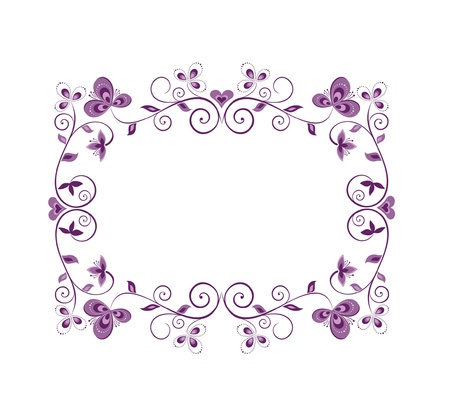 purple butterfly: Floral violet decorative border