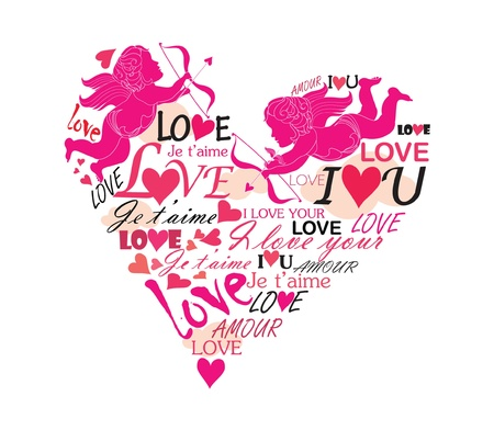Love heart with cupid Vector