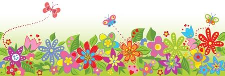 margen: Frontera floral sin fisuras Vectores