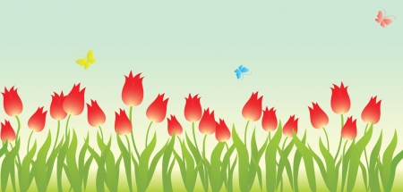 Seamless pattern with tulip Vector