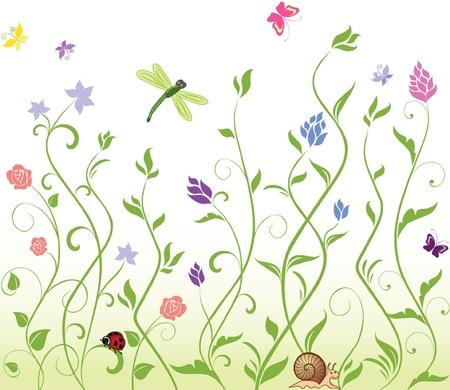 flower fields: Seamless spring background Illustration