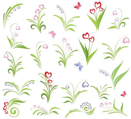 campanas: Conjunto de elementos florales Vectores