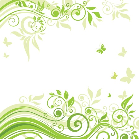 butterfly border: Spring green background