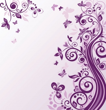 Vintage floral violet background Vector