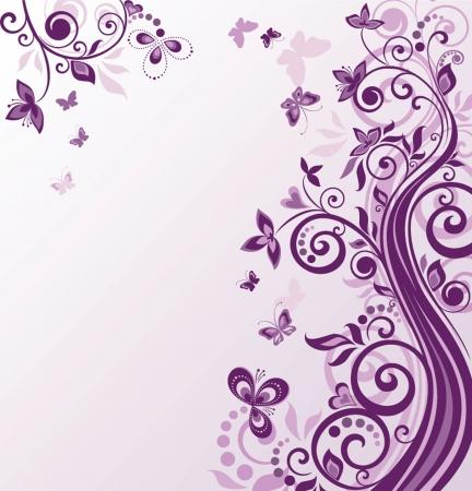 flore: Vintage floral violet background Illustration
