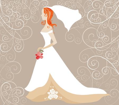 bridal veil: Wedding card with redhead bride