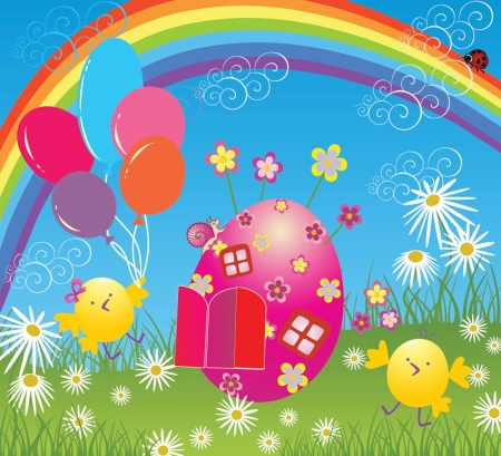 Easter card with balloon Vector