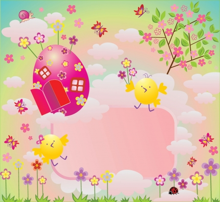 easter tree: Easter colorful card Illustration