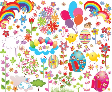 Easter object set Vector