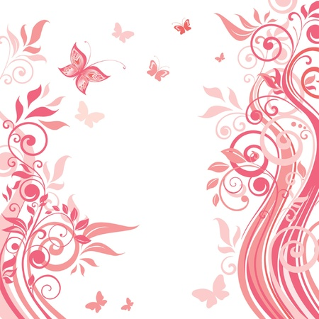 rose butterfly: Pink floral card Illustration