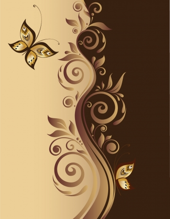 gold floral: Vintage background Illustration