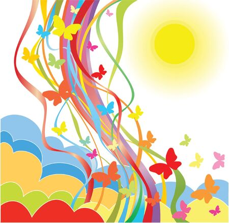 sun clipart: Colorful poster