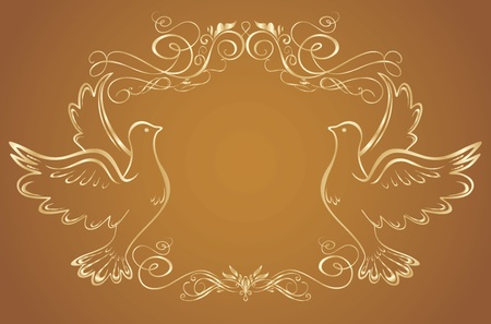 Gold frame with doves Vector