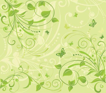 green swirl: Green floral banner