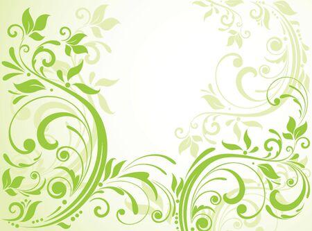 Green floral card Vector