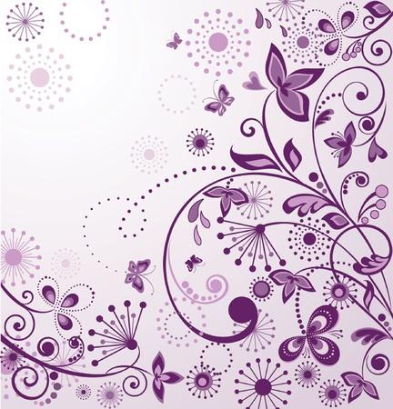 flower decoration: Violet greeting card Illustration