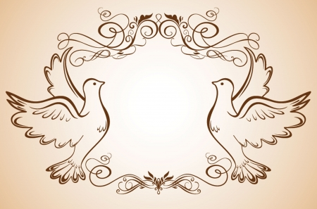nuptials: Wedding frame with doves Illustration