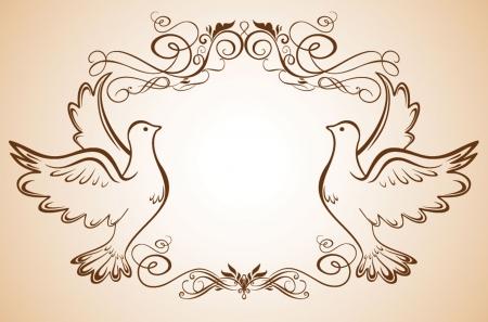 Cadre de mariage avec colombes