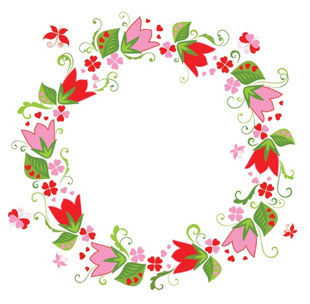 frame flower: Wreath with tulip