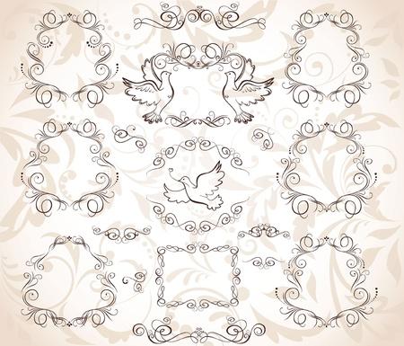 drawing dove: Set of vintage frames