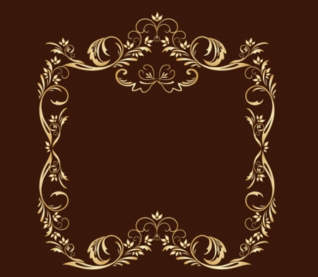 Decorative gold frame. Gold collection. Vector