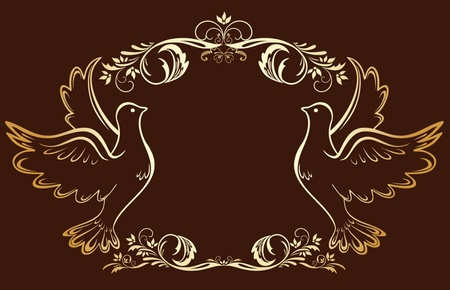 Vintage gold frame with doves Vector