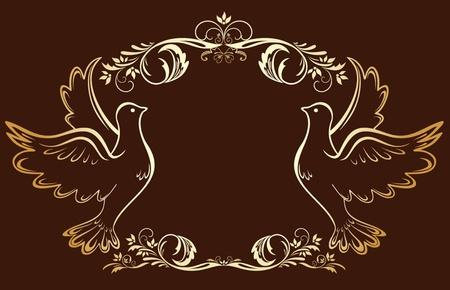 catholic symbol: Vintage gold frame with doves