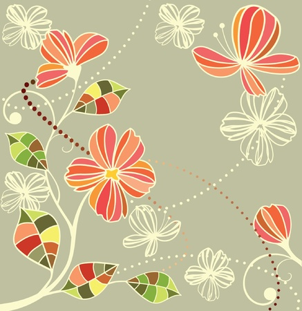 Retro floral card Vector