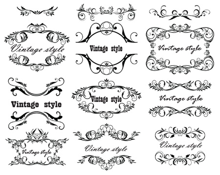 decorative border: Vintage design  Set  Illustration