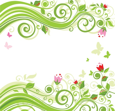 green leaves border: Floral beautiful background