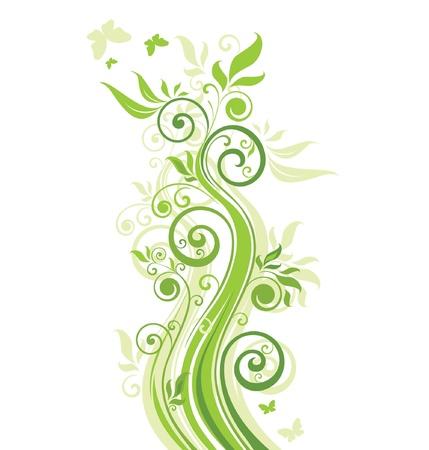 vertical image: Floral green banner Illustration