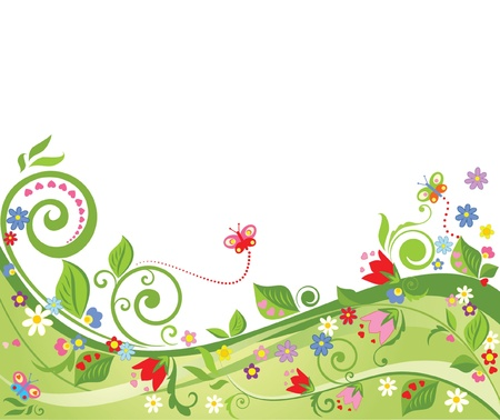 animal border: Floral spring background