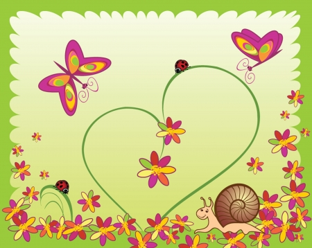 Card with ladybugs, snail, flower and butterfly. See my gallery for more Vector