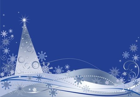 Blue christmas background, vector illustration. See my gallery for more Stock Vector - 19024267