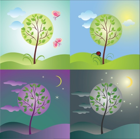 noon: Day (morning, noon, evening, night). See my gallery for more Illustration