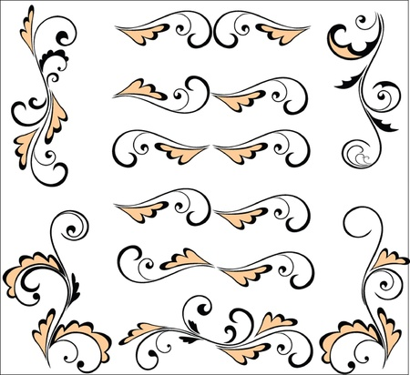 Set of vintage pattern for design (vector). Part 2. See my gallery for more Stock Vector - 19024357