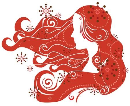 redhead woman: Redhead woman profile Illustration