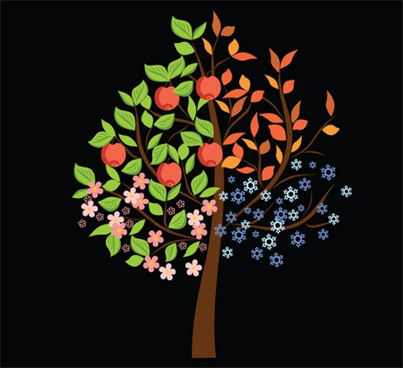 golden apple: Tree, vector illustration. See my gallery for more