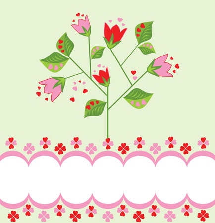 b days: Greeting card with lovely tree