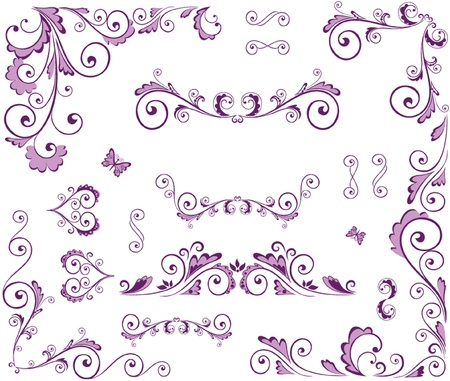 purple butterfly: Set of beauty floral elements