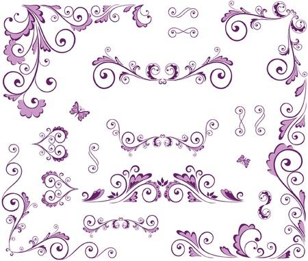 Conjunto de elementos de belleza floral