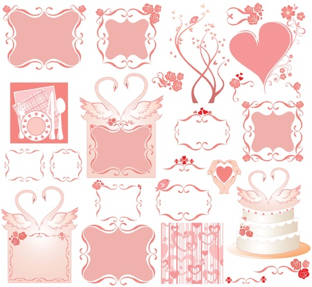 amore: Set of cute pink elements