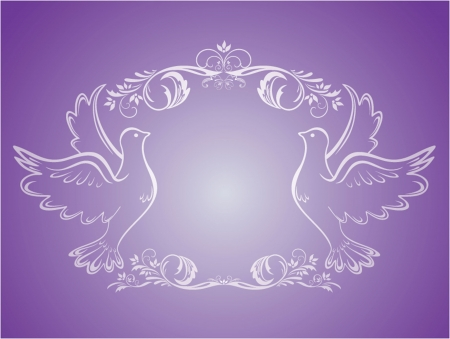 christian marriage: Vintage wedding frame with doves