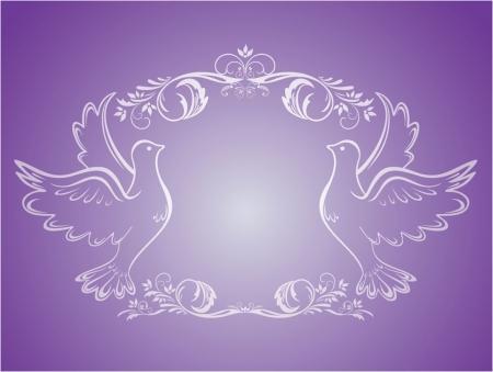 catholic wedding: Vintage wedding frame with doves