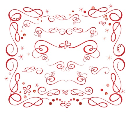 Set of red holiday ribbon Stock Vector - 19024325