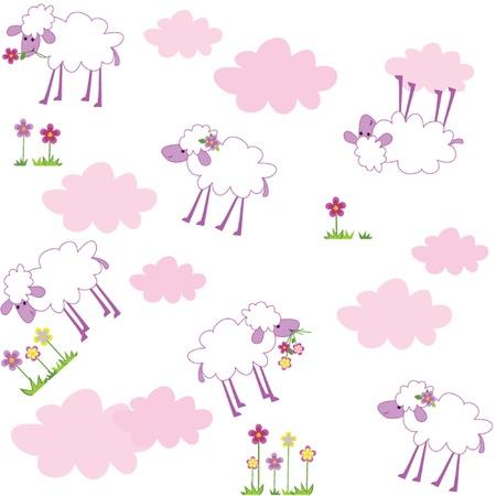 ovejita bebe: Patr�n sin fisuras con las ovejas