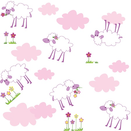 baby lamb: Seamless pattern with sheep